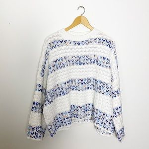 70s Cream Blue Wide Arm Oversized Knit Pullover L